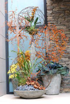 Fall Annuals Planter Container Front Entrance Unconventional Urban Garden Landscape Design