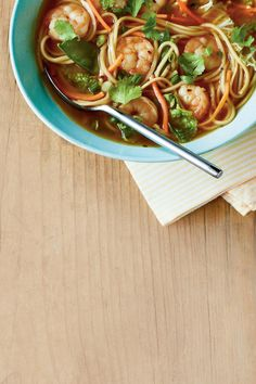 Spicy shrimp noodle bowls are a quick and easy meal for any night of the week. Noodle bowls are great because you can make them with just about anything you have in the fridge. As long as you know how to make the broth, you can add in your fav Shrimp Noodle Bowl Recipe, Shrimp Noodles, Noodle Bowls, Noodle Soup, Noodle Salads, Noodle Dish, Asian Noodles, Rice Bowls, Asian Noodle Recipes