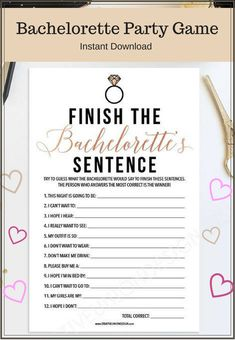 Trending Now - Finish The Bachelorette's Sentence - Bachelorette Party Game - Bachelorette Game - Rose Gold - Instant Download - DIY. NNT #gameday #affiliate #bacheloretteparty #bachelorettepartyideas