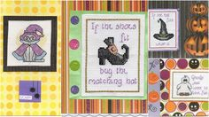 Halloween Spooky Cross Stitch Cards - Handmade - Ghosts, Witches, Wizards, Cats