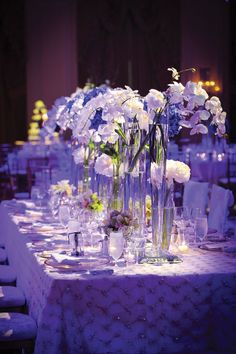 Searching for wedding tips to save money? A Great Wedding. Purple Wedding Centerpieces, Orchid Centerpieces, Centrepieces, Ballroom Wedding, Uplighting Wedding, Wedding Reception, Wedding Lighting, Wedding Dinner, Budget Wedding