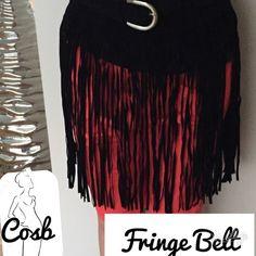 Black & Saddle Color Fringe Belt. Black & Saddle Color  Fringe belt. Belt goes around waist & is adjustable to any size. Wear with leggings to add fringes. Black/Sold! Cosb Accessories Belts