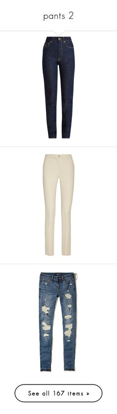 """pants 2"" by lullilia ❤ liked on Polyvore featuring jeans, indigo, high waisted denim jeans, slim fit straight leg jeans, slim straight jeans, high waisted blue jeans, blue jeans, pants, white and straight leg trousers"