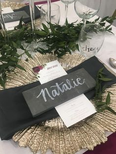 Unique escort card idea.  Utilize slate tiles to create unique wedding name cards.  Perfect for warehouse and industrial weddings or for a diy bride wanting something a little different.