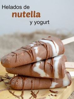 Nutella ice cream and yogurt (Only 2 Ingredients ! Frozen Desserts, Cookie Desserts, Easy Desserts, Dessert Recipes, Cream And Fudge, Ice Cream, Yummy Treats, Yummy Food, Healthy Popsicles