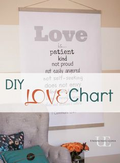 DIY LOVE Chart with Free Printable and Instructions.  Would make a great WEDDING decor, too! #valentine #wedding #decor