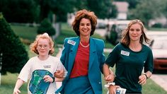 August 1994: Lieutenant Governor Democratic candidate Kathleen Kennedy Townsend with daughters, Kate (10), and Maeve (15), going door-to-door campaigning in Maryland.
