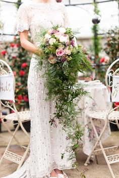 I like the greenery as the cascading part if the bouquet. Gorgeous Cascading Wedding Bouquets ❤ See more: Bouquet En Cascade, Cascading Wedding Bouquets, Bride Bouquets, Bridal Flowers, Floral Bouquets, Cascading Flowers, Bouquet Flowers, Botanical Wedding, Floral Wedding