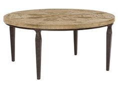 Shop for Bernhardt Round Cocktail Table, 497-015, and other Living Room Tables at Goods Home Furnishings in North Carolina Discount Furniture Stores Outlets. Parota And Pine Solids. Decorative Patterned Top. Metal Base.