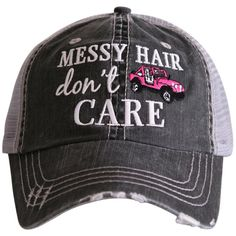 Katydid Messy Hair Don't Care Hat designed by Katydid trucker caps are embroidered and have curved bill distressed cap gives it a worn look adjustable tab with mesh back cotton and polyester one size fits most Swimming Hairstyles, Llamas With Hats, Red Jeep, Wholesale Boutique Clothing, Pink Swim, Wearing A Hat, Cute Hats, Messy Hairstyles, Velcro Straps