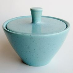 Vintage 50s Blue Speckle California Pottery Bauer  by SanDiegoVintage