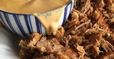 Fork-tender pulled pork pressure cooked in the Instant Pot while you put your feet up served with a delicious dairy and gluten free sauce