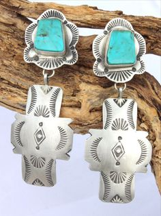 Navajo Turquoise Mountain Cross Sterling Earrlings! http://www.cowgirlkim.com/navajo-turquoise-mountain-cross-sterling-earrlings.html