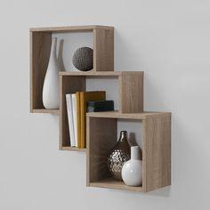 Meuble étagère de rangement 3 niches couleur bois