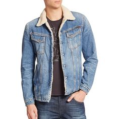 Nudie Jeans Lenny Denim Jacket (5.545 ARS) ❤ liked on Polyvore featuring men's fashion, men's clothing, men's outerwear, men's jackets, apparel & accessories and light denim