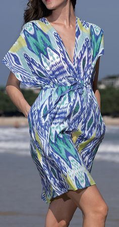 Lavender Ikat Kai Surplice Cover-Up
