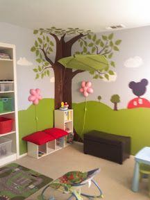 Kids Playroom - reading corner, under a tree decal, and a Ikea leaf shade!  Gorgeous idea!