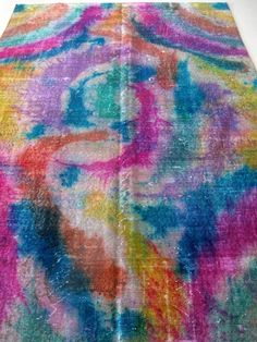 Multicolor Overdyed Turkish Carpet Area Rug by bazaarbayar on Etsy,