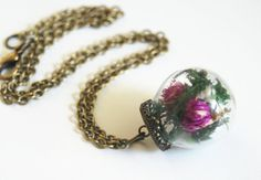 Mini Glass Globe Bottle Pendant Necklace with by jewelrybyferoza, $22.00