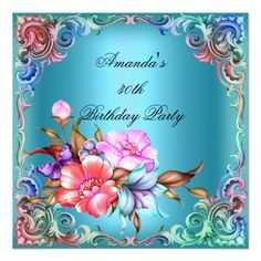 Birthday Party Blue Teal Pink Flower 30th