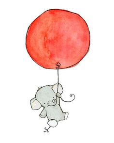 a good luck elephant for baby room. I'd paint this on a nursery room for sure :)