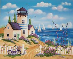 Ocean Blue Folk Art Print by KimsCottageArt on Etsy