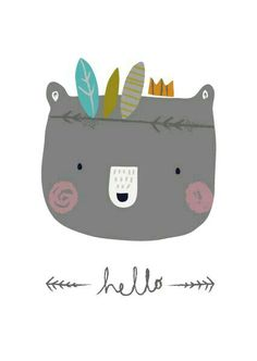 Aless Baylis for Petite Louise Hello Bear. Couple Illustration, Funny Illustration, Woodland Illustration, Baby Posters, Funny Drawings, Animal Drawings, Dog Logo, Wall Drawing, Nursery Art