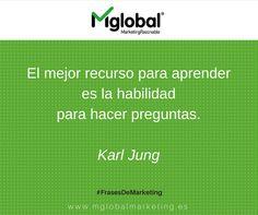 """""""El mejor recurso para aprender es la habilidad para hacer preguntas""""  Karl Jung #FrasesDeMarketing #MarketingRazonable Marketing Words, Business Marketing, Online Marketing, Digital Marketing, Work Quotes, My Job, Business Quotes, My Passion, Coaching"""
