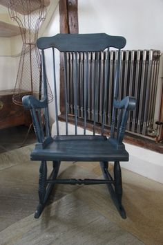 Fabulous rocking chair painted in Annie Sloan's Aubusson Blue, distressed and dark waxed – statement colour but also versatile!. Perfect for any room in your home! H – 1050mm, W – 570mm, D – 770mm
