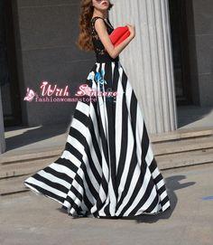 Black and white stripe cotton dress maxi dress evening dress sleeveless dress tunic dress casual dress plus size skirt party skirt D076