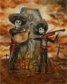 FREE SHIPPING  5 x 7 Borderless Day Of The Dead by orlandoart, $14.00