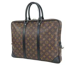 Auth LOUIS VUITTON Porte-Documents Voyage Monogram Macassar Briefcase Bag #25667