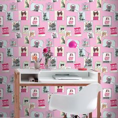 Luxury Wallpaper -Pink Cool Cats In Frames & Polka Dots - Rasch Luxury Wallpaper, Cat Wallpaper, Photo Wallpaper, Cat Bedroom, Room Decor Bedroom, Polaroid Photos, Pink Polka Dots, Crazy Cats, Cool Cats