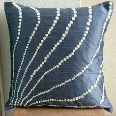 Handmade Slate Blue Pillows Cover, Silk Throw Pillows Cover, Square Mother Of Pearls Pillow Covers, Modern Pillow Cover - Blue Moon Grey Pillow Cases, Blue Pillow Covers, Decorative Pillow Covers, Blue Cushions, Cushions On Sofa, Silk Pillow, Sewing Pillows, Blue Moon, Decoration