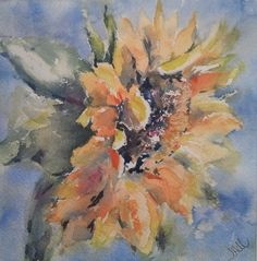 """Just Because"" original watercolor painting by Julie Hill (6"" x 6"")"