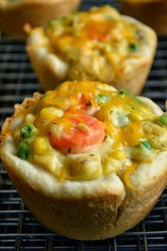Love this idea - Chicken Pot Pie Cupcakes. Plenty of crust in each serving, which is, of course, the best part!