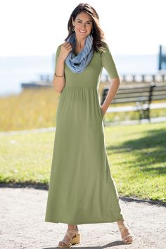 Empire Waist Knit Dress: Classic Women's Clothing from #ChadwicksofBoston $29.99