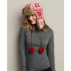[Women's Reindeer Snowflake Reversible Hat]