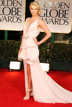 Another blush - Charlize Theron in Dior couture. Brides - don't even thing about it - it's a bit much for a wedding. But gorgeous!