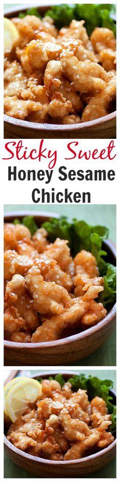 Best ever honey sesame chicken. Easy honey sesame chicken recipe with fried…