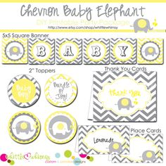 DIY Yellow & Grey Chevron Elephant Baby Shower by whittlewhimsy