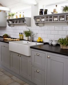 Grey Cabinets Farmhouse Sink Subway Tile Backsplash Would Be An Inexpensive Option