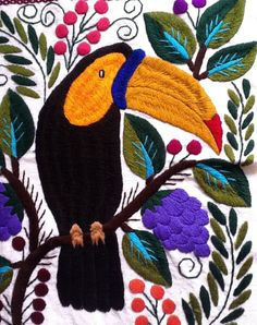 Mexican Embroidery, Embroidered Bird, Textiles, Wild Creatures, Tropical, Artist Art, Textile Art, Crochet, Diy And Crafts