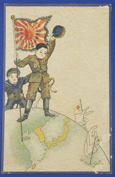 1910's Japanese Postcards : Patriotic Children and Rabbits army animal rising sun flag / vintage antique old Japanese military war art card / Japanese history historic paper material Japan