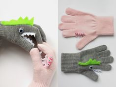 DIY No Sew Monster Gloves from Hello Natural. All you need is glue, googly eyes and felt. These would make cute stocking stuffers. For more DIY gloves go here. You could also make these DIY Knuckle Tattoo Gloves from Country Living.  Or make DIY Felt Heart Gloves by Mache.