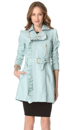 RED Valentino - Leather Ruffle Trench