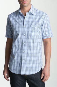 James Campbell 'Glyndon' Plaid Sport - blue men's short sleeve shirt