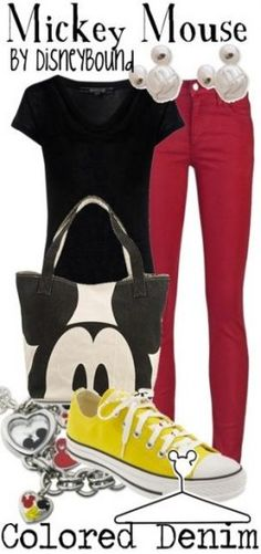 Disney Bound Mickey Mouse - Loving the color in this outfit. So easy to wear! Disney Themed Outfits, Disney Dresses, Disney Clothes, Disney Mode, Disney Fun, Disney Mickey, Disneybound Outfits, Mickey Mouse Outfit, Traje Casual