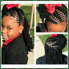 Girls Braided Hairstyles Very Cute Braids Side Hairdo For Little Girlwith Beads  Black