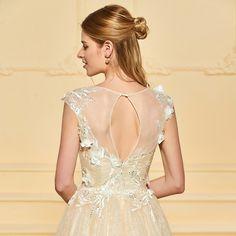 f445b014 Dressv Lang brudekjole Scoop Neck Cap Sleeves Tulle En Line Lace Plus  Størrelse Elegant 2018 Brugerdefineret